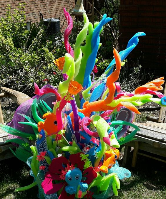 coral reef made of pool noodles
