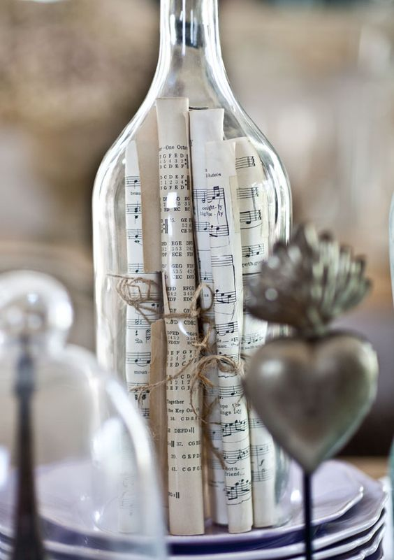 vintage note paper tied and put under a cloche