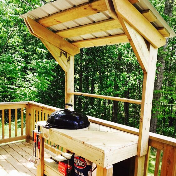 Weber grill station made from scrap wood