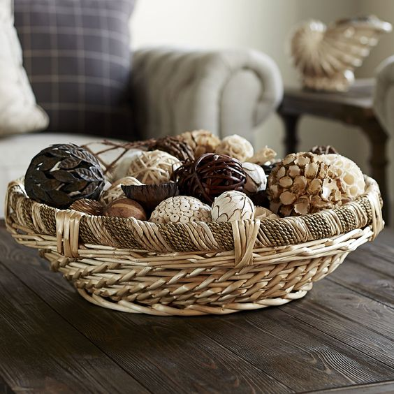 decorative round rope and willow basket to hold various stuff