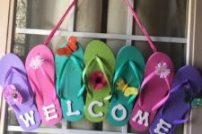 19 dollar store slippers for a pool party wreath