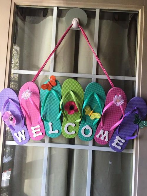 dollar store slippers for a pool party wreath