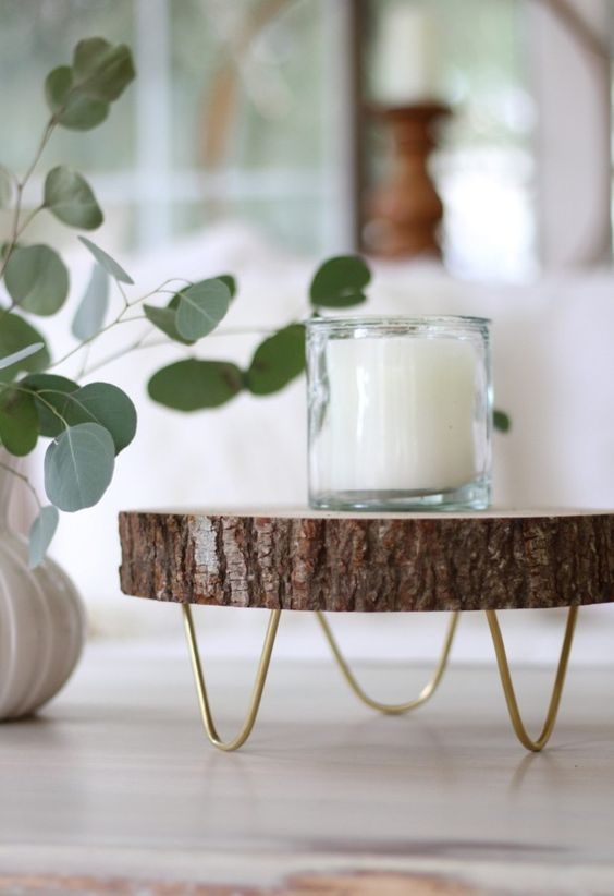 footed wood slice tray or a cake stand