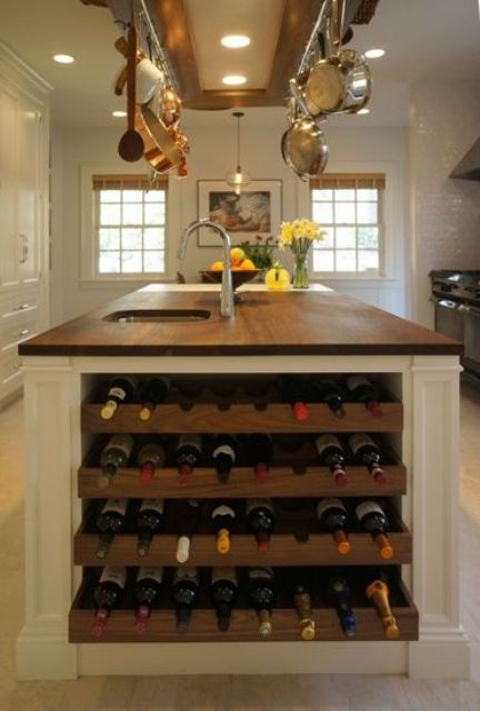 kitchen island with a built-in wine rack