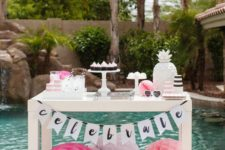 19 stylish dessert table with blush and fuchsia paper balls