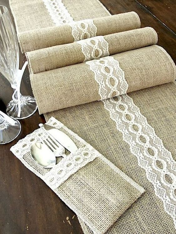 burlap table runner and utensil pockets