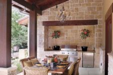20 outdoor kitchen and dining area
