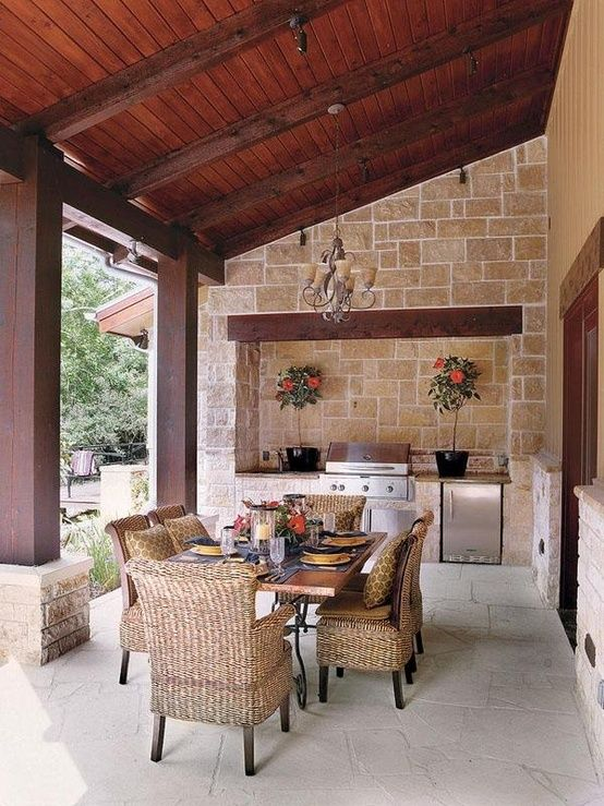 Picture of outdoor kitchen and dining area for Kitchen dining area decorating ideas