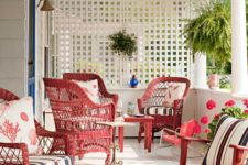 20 red and white cottage porch with red furniture