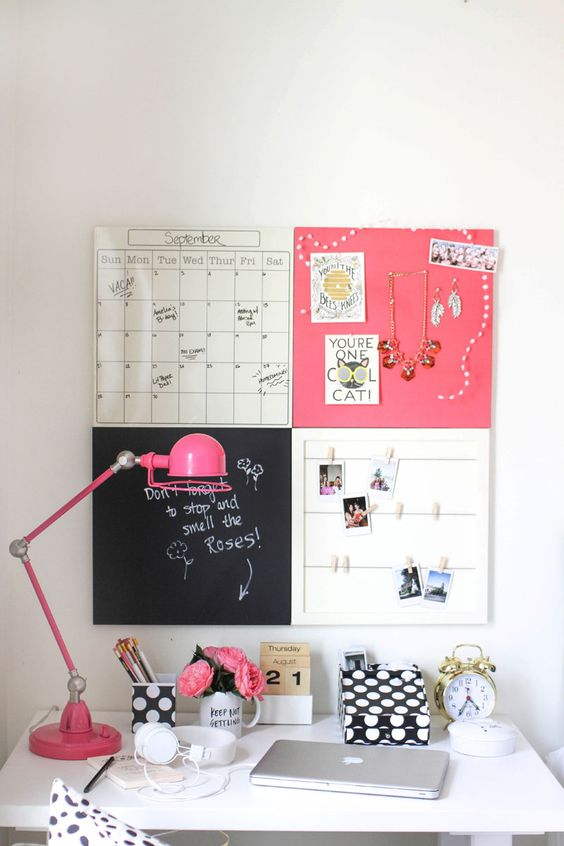 tiny pink teen girl study space with a pinboard