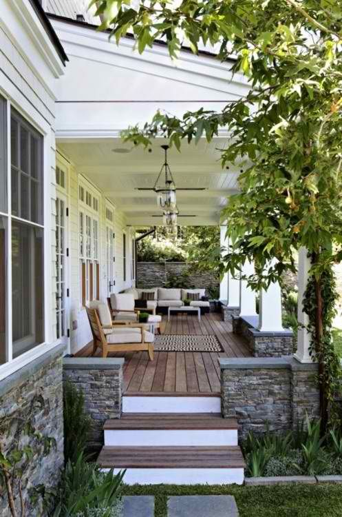 outdoor living space with garden views