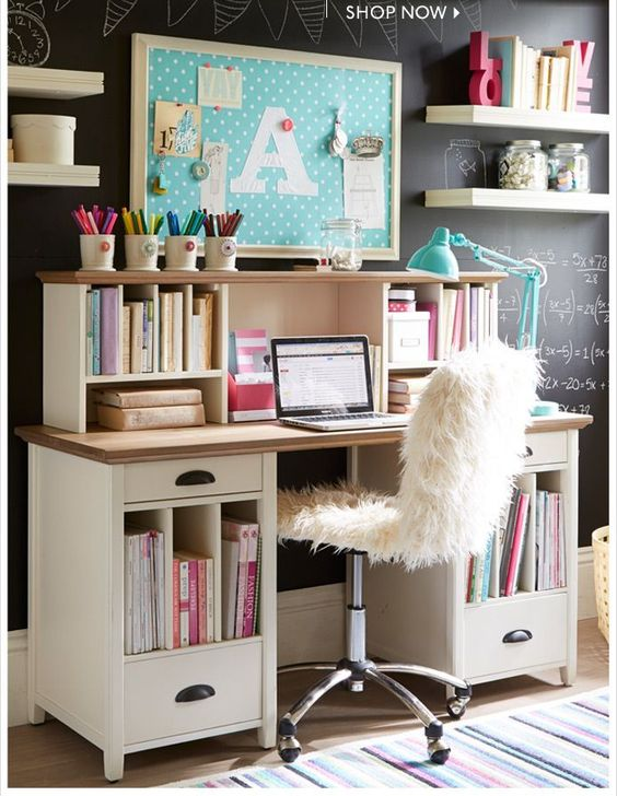 teenage girl study space with glam touches and lots of storage