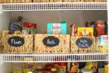 21 woven baskets with chalkboard labels