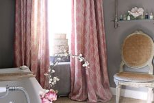 22 English country house bathroom with pink curtains