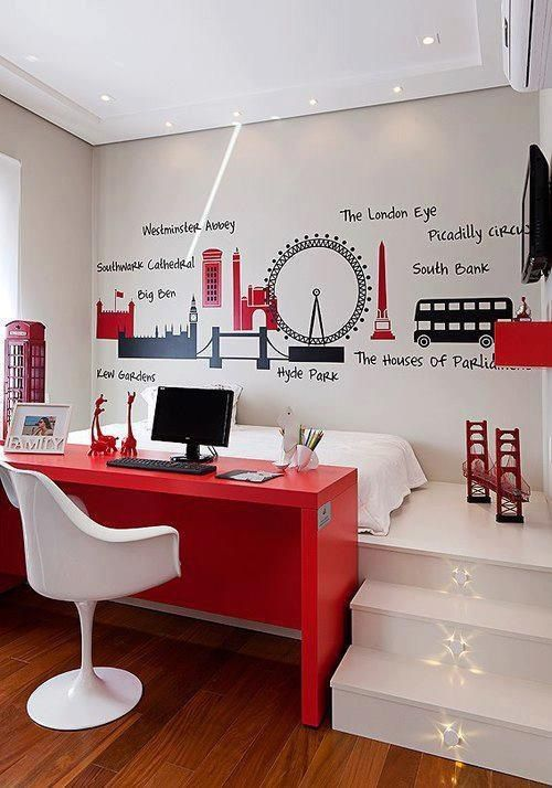gender-neutral bold red teen desk nook