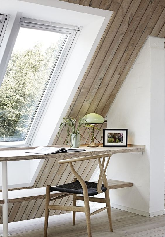 simple woode desk and chair with a mid-centiury modern flavor for a minimalist attic home office