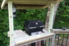 22 wooden grill cover with wooden shelves