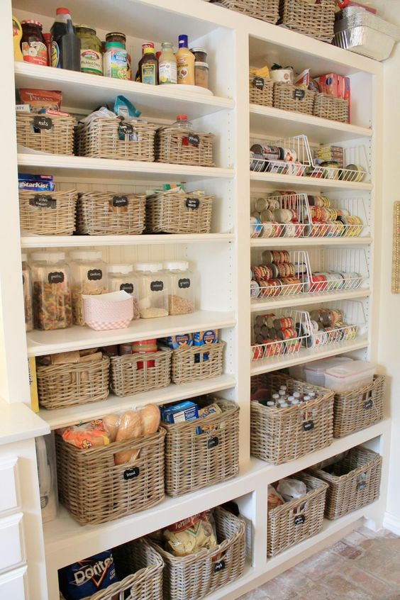 woven cubbies for storing food