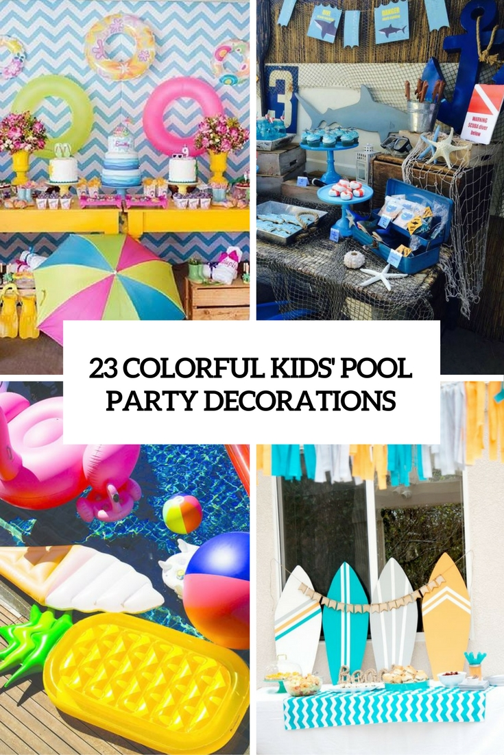 colorful kids pool party decorations cover