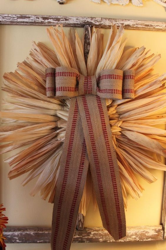 corn husk wreath with a large bow