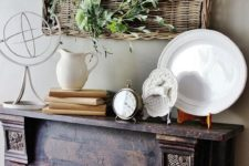 23 low basket with handles used for wall decor
