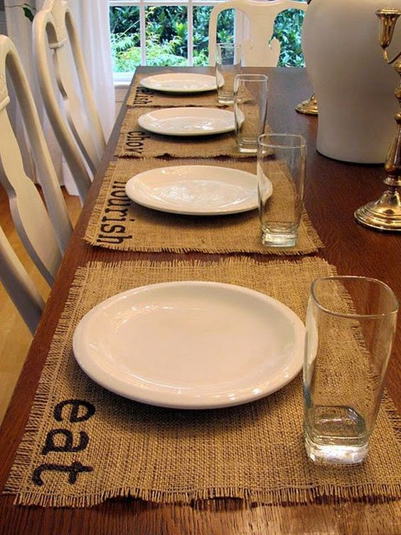 simple stamped burlap placemats