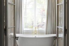 23 vintage bathroom decor with cream curtains