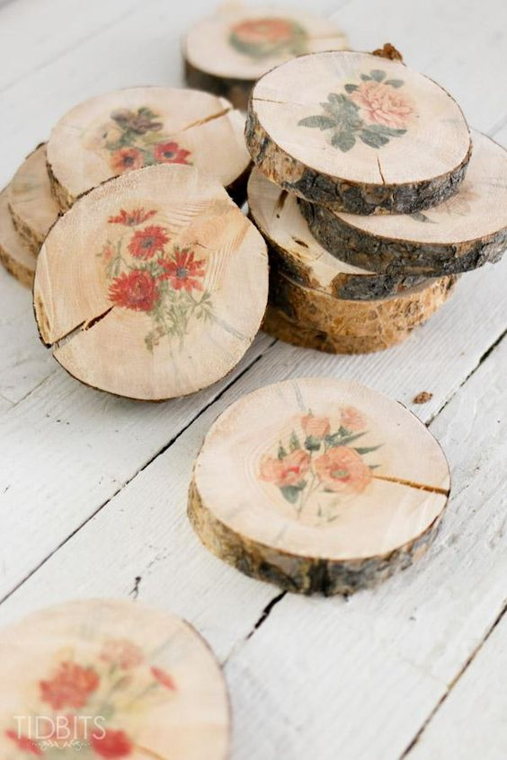 wood slice coasters with flower stickers