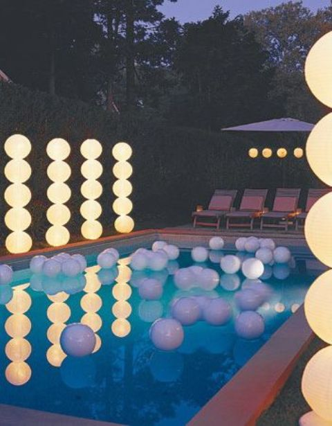 light columns for a pool party