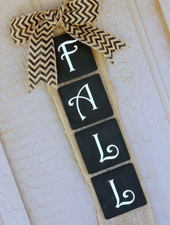burlap and chalkboard banner for the fall