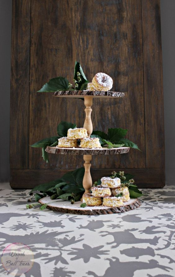 triple tier cake stand from wood slices