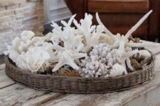 25 wicker basket on coffee table filled with shells for a coastal look