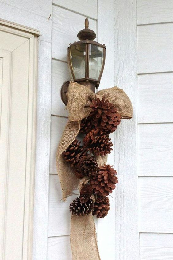 burlap and pinecone decor for the fall and winter