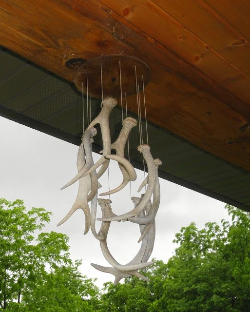 outdoor wind chimes made of deer antlers