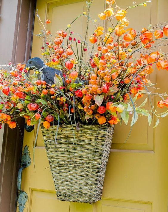 hanging basket with dried flowers and faux berries