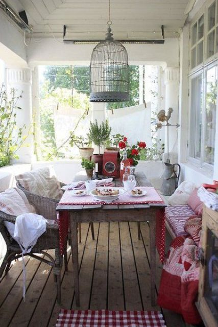 vintage back porch as a dining space