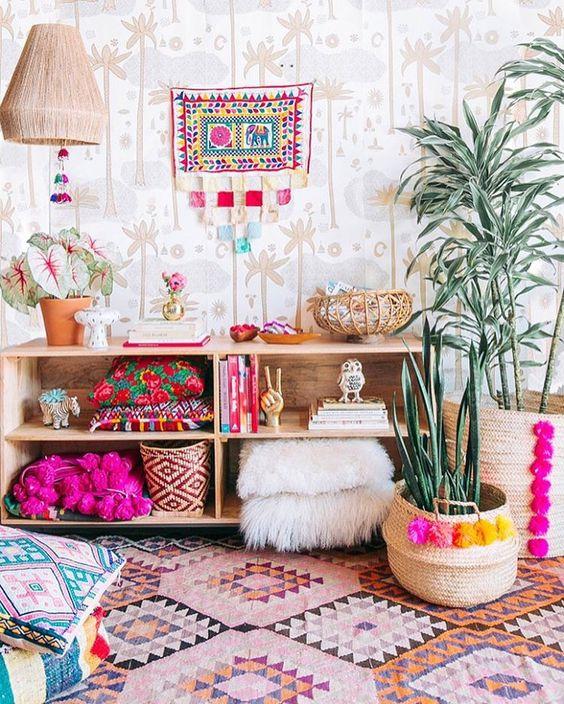 woven pompom basket planters