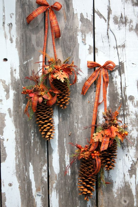 fall pinecones on ribbons