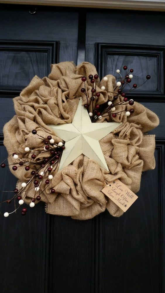 everyday burlap star wreath to add a charming rustic touch to your front door
