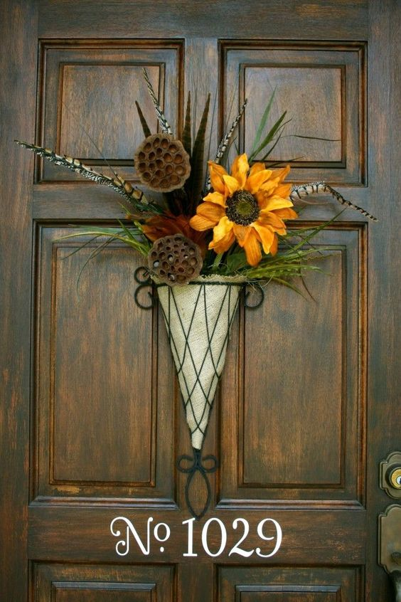 fall cone wtih faux flowers and greenery