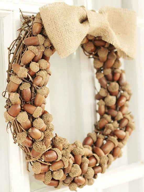 all-natural acorn and burlap wreath