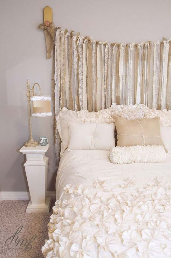 headboard of burlap and lace strips