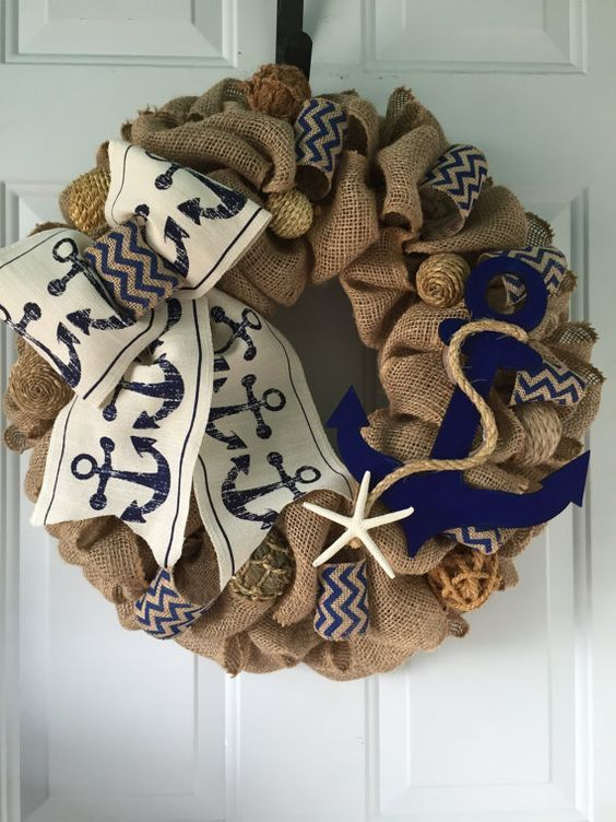nautical burlap wreath with anchor and a sea star