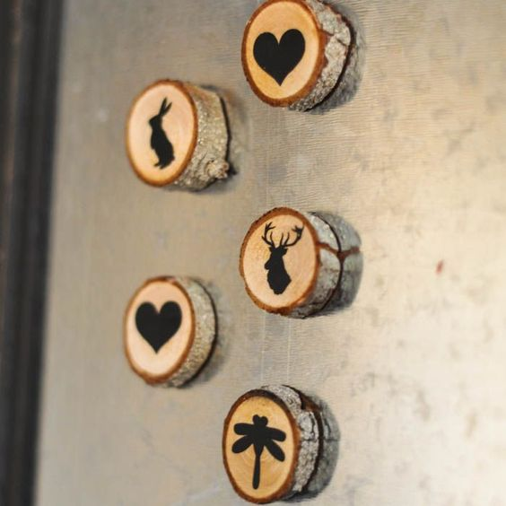 tiny wood slice magnets with decor