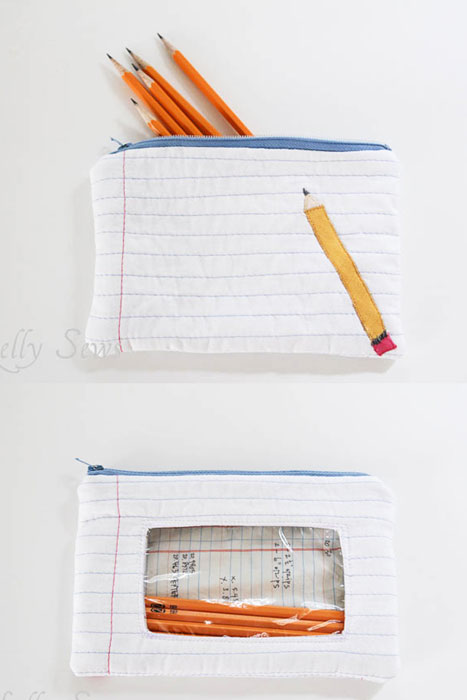 DIY notebook paper and pencil pouch