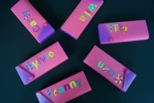DIY plastic box pencil cases with letters