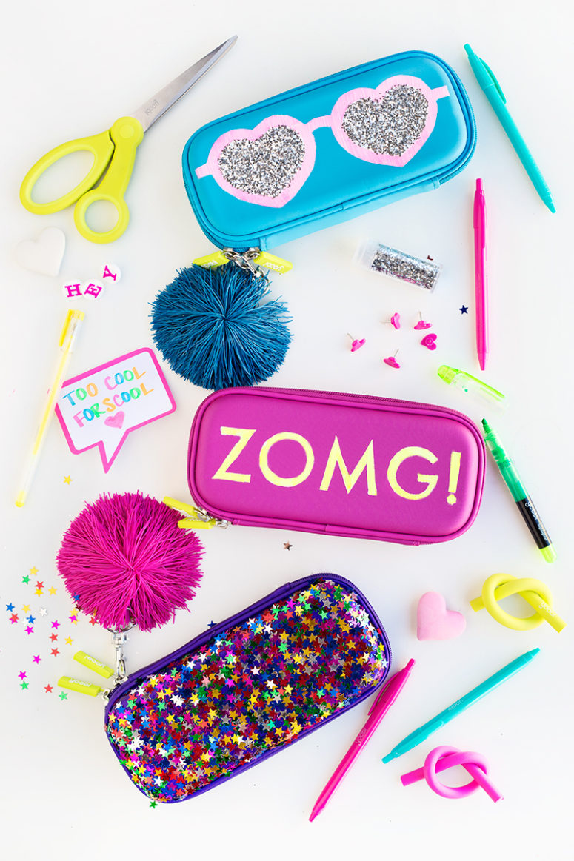 DIY glitter graphic pencil cases (via studiodiy.com)