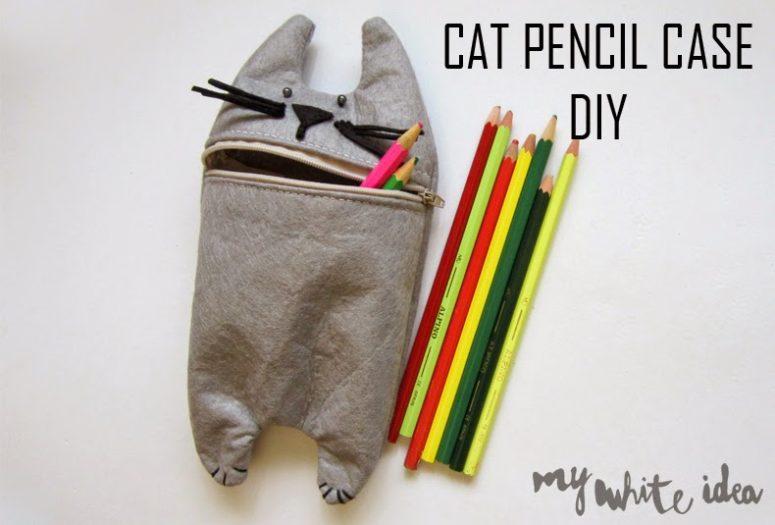 DIY felt cat pencil case (via www.mywhiteideadiy.com.es)
