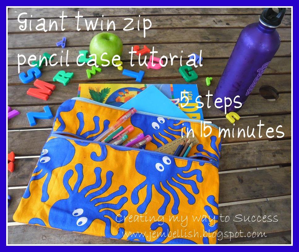 DIY twin zip pencil case