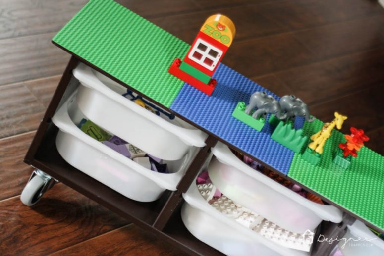 DIY Lego table from Ikea Trofast wall storage unit (via .designertrapped.com & 10 Cool DIY Lego Tables From IKEA Supplies - Shelterness